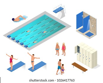 Isometric vector set of swimming pool, swimmers, showers in the gym, locker and changing room elements icons. Health lifestyle.