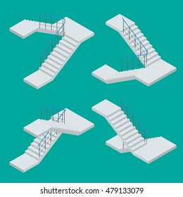 Isometric Vector staircase for modern house, building. Steps, ladder, stairway. Flat 3d  illustration. For infographics and design games.