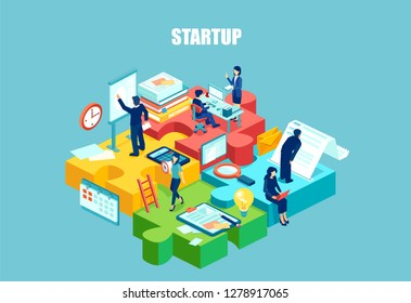Isometric vector of startup employees working as well organized team. Cooperation business goal thinking, infographic in a form of puzzle. Concept for webdesign.