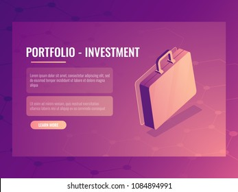Isometric vector suitcase, portfolio investment and finance, abstract background