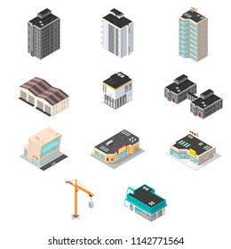Isometric  Vector Town Building Elements. City Map Maker Kit.