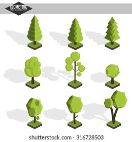 Isometric vector tree set. Landscape constructor kit. Different trees for make design. Low poly