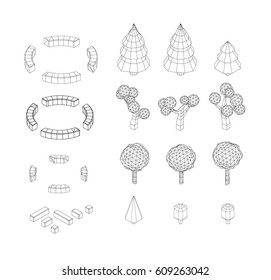 Isometric vector tree set. Landscape constructor kit. Different trees for make design. Low poly spruce, apple, decorative shrub, linden, maple, pine and firtree. Black and white wireframe illustration