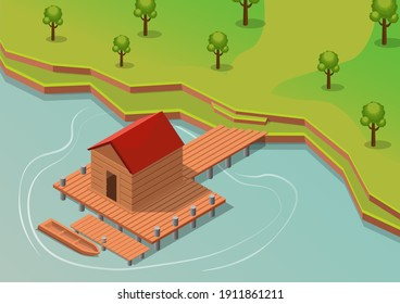 Isometric vector tropical resort with boat on water