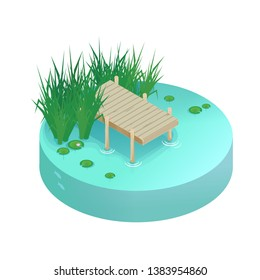 Isometric vector vacation on the lake. Pier on the lake, river, pond.