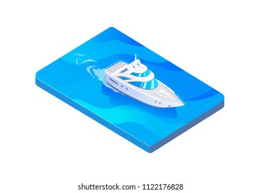 Isometric vector white boat in the sea
