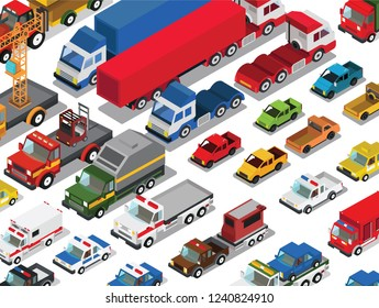 Isometric vehicles isolated on white