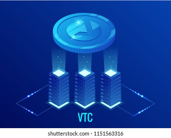 Isometric Vertcoin VTC Cryptocurrency mining farm. Blockchain technology, cryptocurrency and a digital payment network for financial transactions. Abstract blue background.