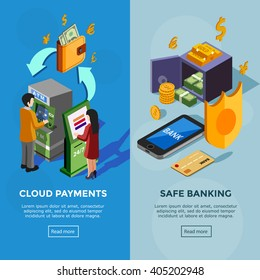 Isometric vertical bank banners with safe banking icons and cloud payments concept with people near terminal vector illustration