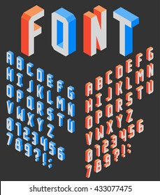 Isometric vertical blocky latin font wit numbers, left and right sides