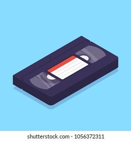 Isometric VHS video cassete. Vector illustration