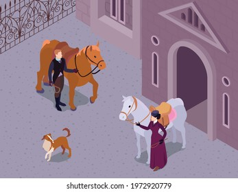 Isometric victorian fashion composition with outdoor scenery and characters of gentleman and lady snaffling their horses vector illustration