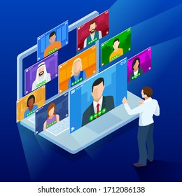 Isometric video conference. Online meeting work form home. Home office. Multiethnic business team. Stay at home and work from home concept during Coronavirus pandemic