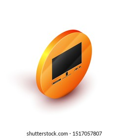 Isometric Video game console icon isolated on white background. Game console with joystick and lcd television. Orange circle button. Vector Illustration