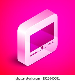 Isometric Video game console icon isolated on pink background. Game console with joystick and lcd television. Silver square button. Vector Illustration