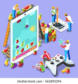 Isometric Video game UX development. Web gamer person gaming online with console controller android phone or computer. 3D Isometric People icon set. Creative design vector illustration collection