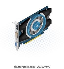 Isometric Video Graphics Array Vector Illustration