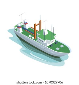 Isometric view of big green and white colored ship sailing in sea on white background.