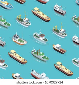 Isometric view of different boats and ships sailing in blue water seamless pattern.