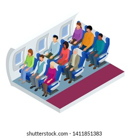 Isometric View of the Interior of an Airplane. Airplane passengers and crew. Various airplane passengers on the flight.
