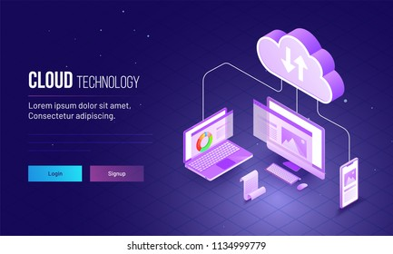 Isometric view of laptop, computer and smartphone connected each other for cloud storage concept based landing page design.