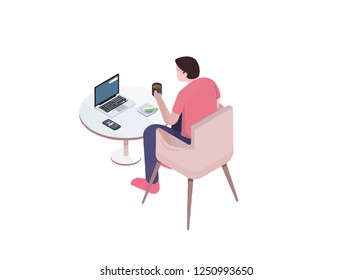 isometric view of man working with laptop with a table vector, man seat, laptop vector, coffe and phone and food on the table, Business person working on computer. Businessman sitting on a pink chair