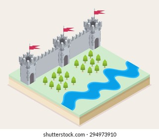 Isometric view of a medieval castle, a forest and a river