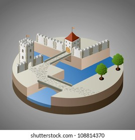 Isometric view of a medieval castle on a gray background