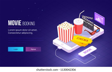 Isometric view for responsive landing page design with fast food and cinema hall equipments on smartphone for Movie Booking concept based landing page.