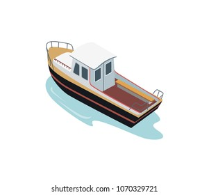 Isometric view of small vessel sailing in the sea isolated on white.