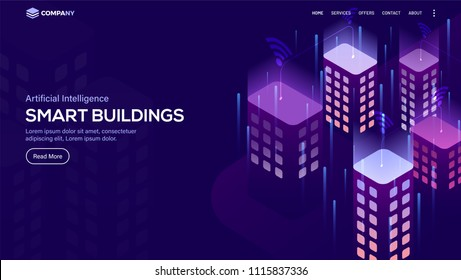 Isometric view of smart buildings, Concept for Artificial Intelligent (AI) landing page.