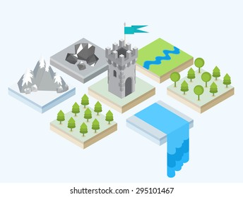 Isometric views of a forest, a waterfall, a mountain range, a group of stones and a medieval castle tower