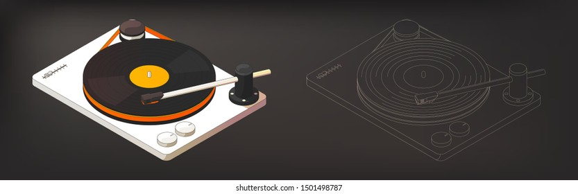 Isometric vinyl turntable vector illustration with color and monochrome version. Hi-Fi vinyl player in 3d illustration with vinyl record. Dj deck isometric.