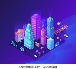 Isometric violet future city technology  vector illustration