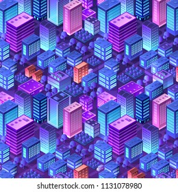 Isometric violet purple background city urban pattern of building house skyscraper architecture ultraviolet vector illustration
