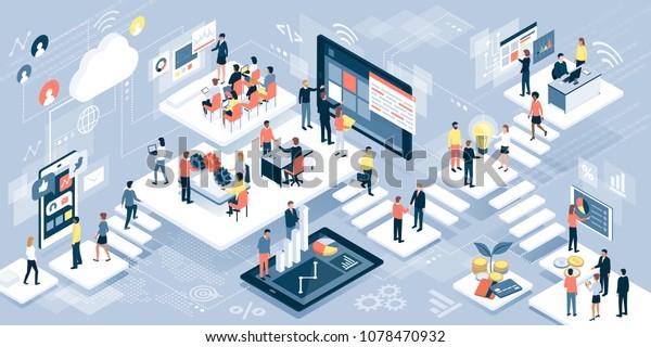 Isometrisk virtuelt kontor med forretningsfolk som arbeider sammen og mobile enheter: business management, online kommunikasjon og finanskonsept