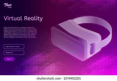 Isometric virtual reality concept. VR headset. Vector illustration. Virtual world and simulation in ultraviolet colors.