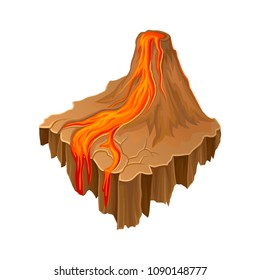 Isometric volcano island with hot flowing lava. Colorful cartoon landscape. Vector element for fantasy game