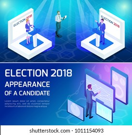Isometric voting, the concept of presidential elections. The dynamics of elections, debates, statements, attracting voters. Advertising concept
