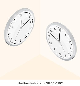 Isometric Wall clock. The Bright Dial. Round-the-clock. Silver color. Realistic clock icon. Vector illustration.
