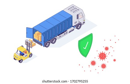 Isometric warehouse coronavirus safety logistic service transport box package goods food parcel vector illustration. Boxes packages parcels safe delivery flat concept isolated on white background