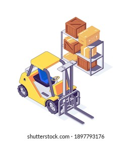 Isometric warehouse forklift with cardboard and wooden boxes on shelf. Storage and delivery concept with yellow fork lift and packages. Warehouse machinery with box in cargo and shipping vector.