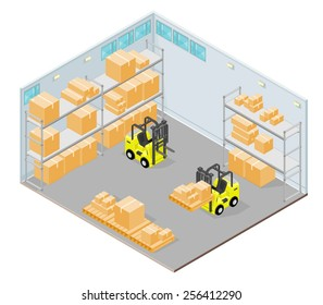 Isometric warehouse Interior with forklift and storage boxes. Isometric warehouse Interior. Distribution Warehouse.