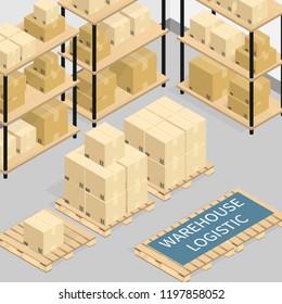 isometric warehouse logistics online shipping,cardboard box vector