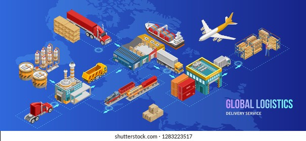 Isometric warehouse and logistics set of freight vessels and vehicles amidst factories and warehouse. Different type warehouse transport — сontainer carrier, dump truck, refrigerator. \n