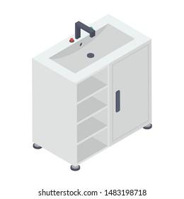 Isometric washbasin vector flat design
