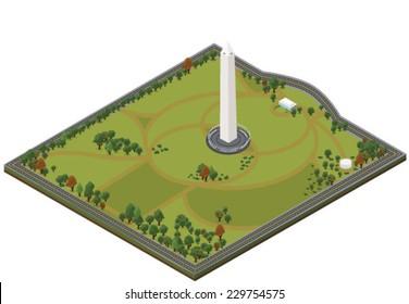 Isometric Washington Monument - Vector clip art illustration on white background
