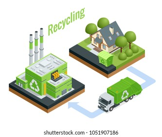 Isometric Waste Processing Plant. Technological process. Recycling and storage of waste for further disposal.