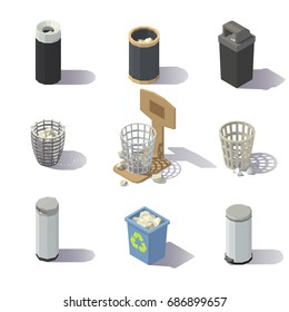Isometric Wastepaper Basket on white background. Vector low poly illustration.