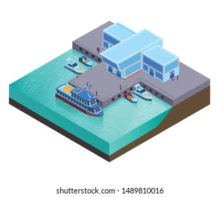 Isometric water transport composition with modern buildings of river station with boats at rest and people vector illustration